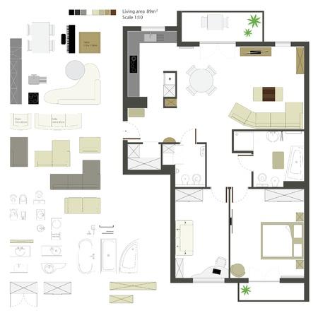 piano di progetto: proiezione piana con mobili Scale Set Vettoriali