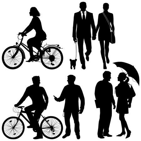 several people, city live -  silhouettes Vector
