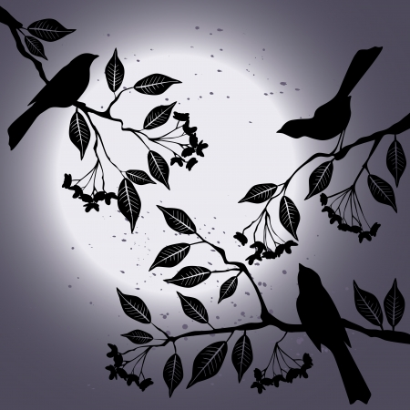 Birds on the branch during summer Illustration