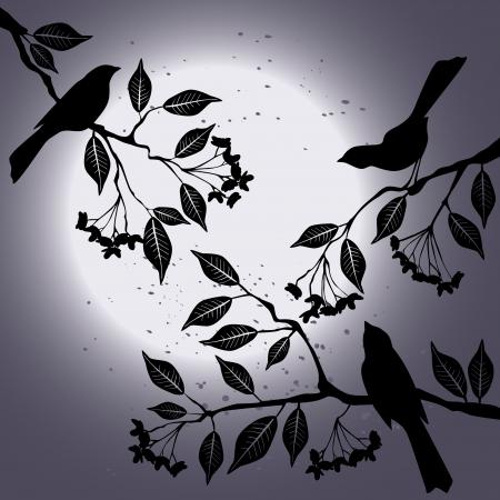 Vogels op de tak in de zomer Stock Illustratie