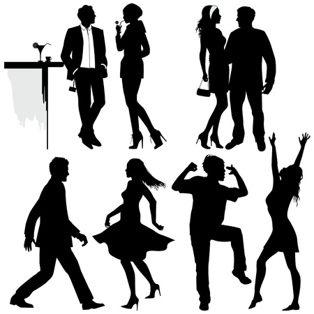 Several people are dancing on the party, vector silhouettes Vector