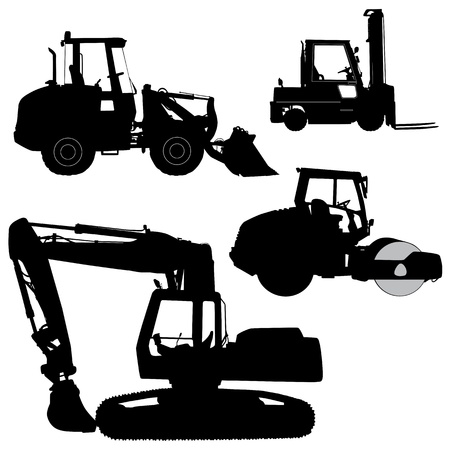 dredging tools: Machinery  Set of silhouettes of a tractors of road service - vector silhouette