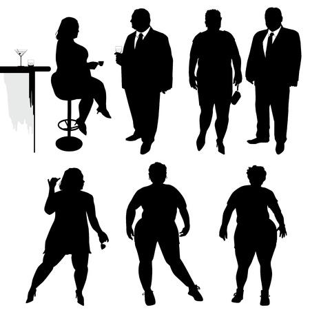 obesidad: Varias personas est�n bailando siluetas de personas obesas Vectores