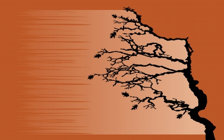 bending: The tree is bending by the wind Illustration