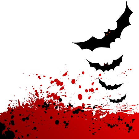 Halloween background  Flying bats  Vector