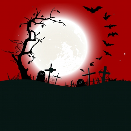 ghouls: Halloween background - destroyed cemetery in full moon