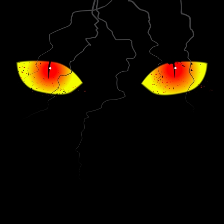 Scary eyes on the black background Vector