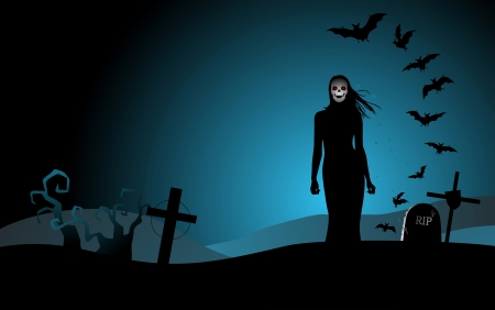 cemetery: Halloween background with woman ghost