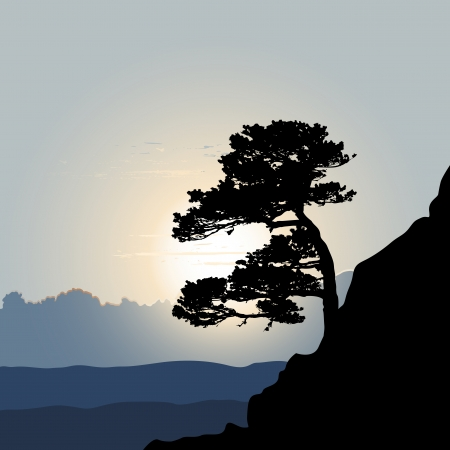 marple: Tree silhouette on a mountain background