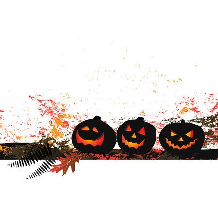 gossamer: Halloween background - two pumpkins and cobweb