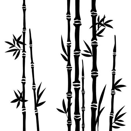 Bamboo branches isolated on the white background  Vector Vectores