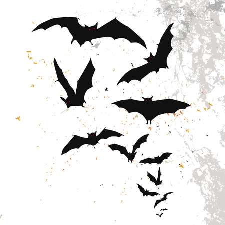 flock: Halloween background with a full moon and bats