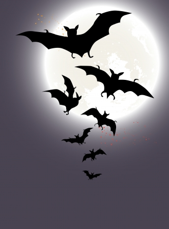 marple: Halloween background with a full moon and bats