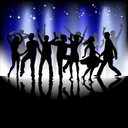 night club: A group of people having a good time in disco  Crowd infront of a stage  Vector  Illustration