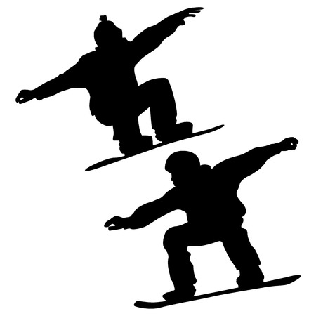 Collection  Snowboarders And A Skier  2D Vector Ilustração