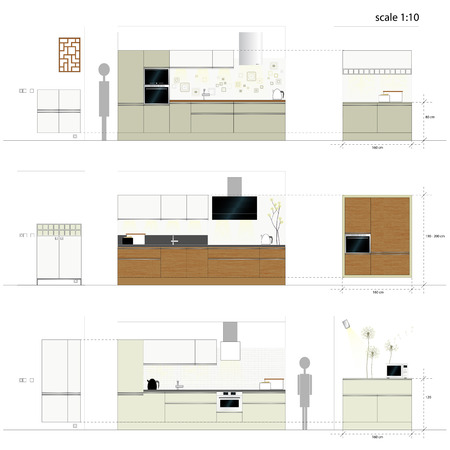 kitchen furniture: Kitchen furniture  Interior furniture  Vector illustration Illustration