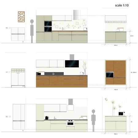 kitchen illustration: Kitchen furniture  Interior furniture  Vector illustration Illustration
