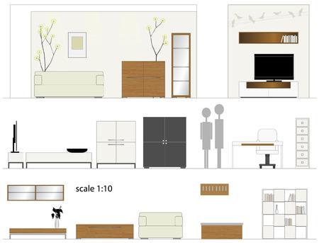 living room design: Furniture  Design living room  Interior furniture  Vector illustration  Scale 1 10