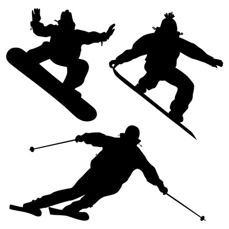 snowboarder jumping: Collection  Snowboarders And A Skier  2D Vector Illustration