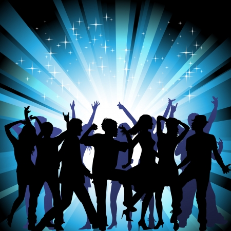 strobe light: A group of people having a good time in disco  Crowd infront of a stage  Vector  Illustration
