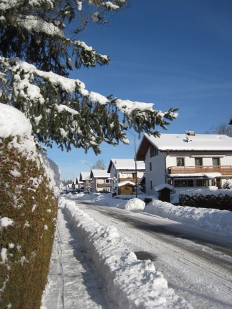 Country town, the street covered by snow