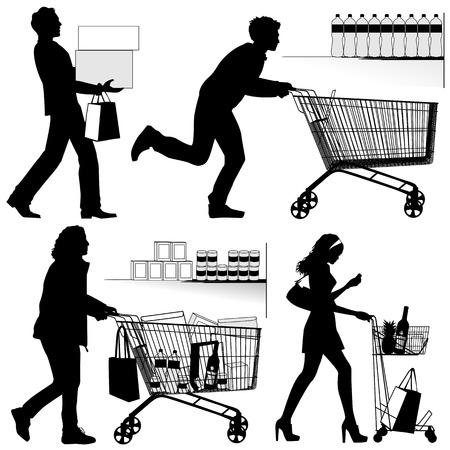 Verschillende mensen U kunt elk aantal producten in het winkelen karretje Stock Illustratie