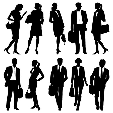 outlines: business people - global team - vector silhouettes