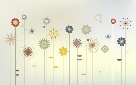 desktop wallpaper: Flores salvajes abstractas - fondo de Escritorio Vectores