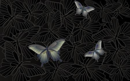 desktop wallpaper: Fondo de escritorio - fondo con las mariposas - gr�ficos vectoriales
