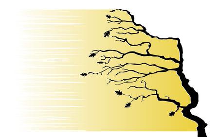 moody sky: Albero nell'illustrazione vento vettoriale