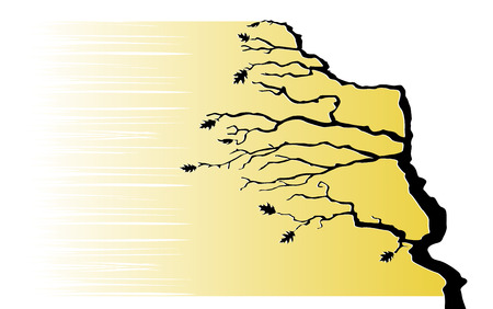 bent: Tree in the wind  Vector illustration