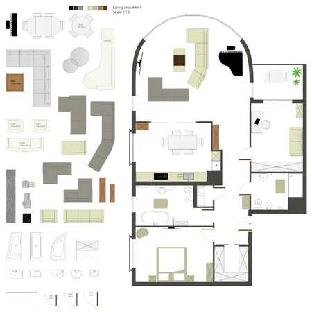 sols: Vecteur plat projection avec des meubles r�gler l'�chelle 1 10