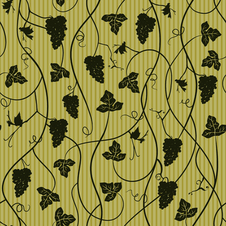포도 수확: 포도 원활한 패턴, 벽지 - 벡터 일러스트 레이 션 일러스트