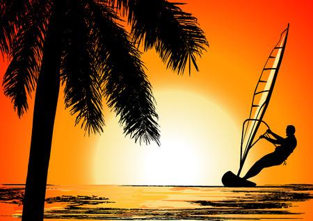 windsurfing: Vacaciones de verano, el vector