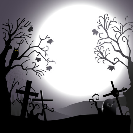 gossamer: Halloween background - destroyed cemetery in full moon