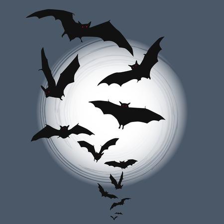 bat: Halloween background - flying bats in full moon