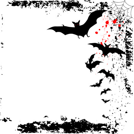 marple: Halloween background with bats. Vector Illustration