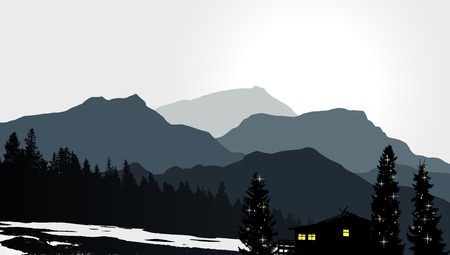 house outline: Mountain View with a lonely house