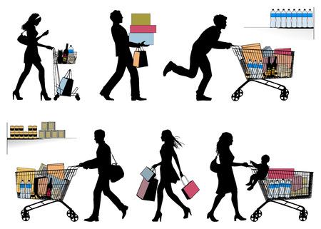 Verschillende mensen. U kunt elk aantal producten in het winkelen karretje gezet. Stock Illustratie