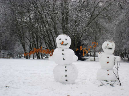 stovepipe hat: Snowman standing in winter landscape