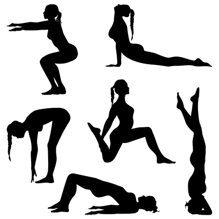 squat: Womens movement. Girls are making exercises. Fitness silhouettes - vector set