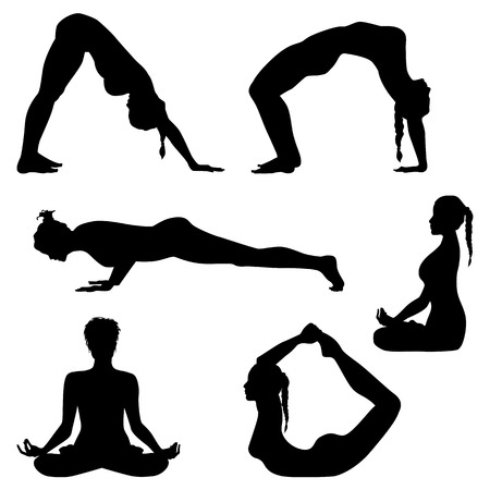 step fitness: Womens movement. Girls are making exercises. Fitness silhouettes - vector set