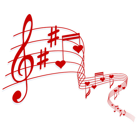 heart tone: Valentines musical background - vector illustration