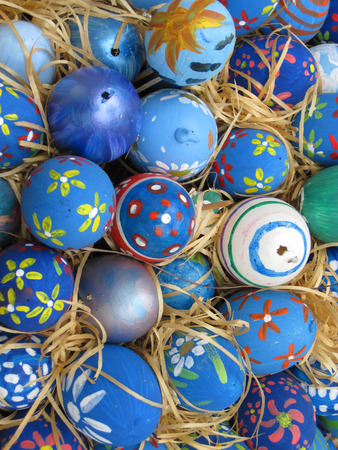 Background with Easter Eggs decorated to children photo