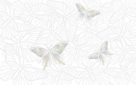 desktop wallpaper: Papel tapiz del escritorio - fondo con las mariposas - gr�ficos vectoriales