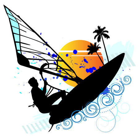 lonely: Summer holiday, lonely sailor - vector Illustration