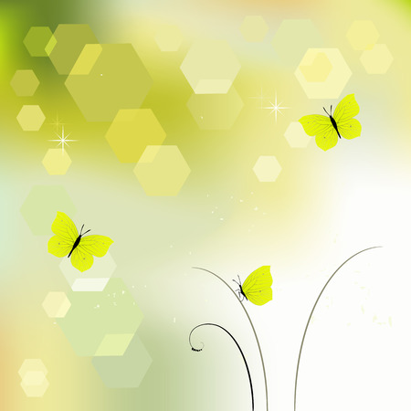 desktop wallpaper: Desktop wallpaper - background with butterflies - vector graphics