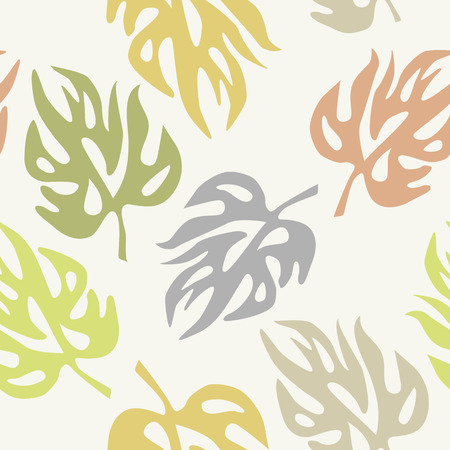 Abstract leaves on a seamless pattern wallpaper Illustration