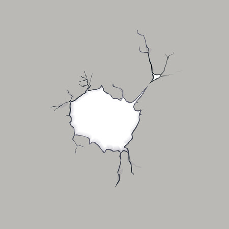 breakage: Crack in a concrete wall, vector illustration Illustration