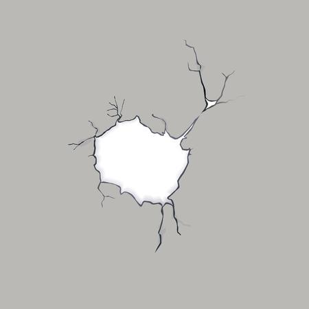broken wall: Grieta en una pared de concreto, ilustraci�n vectorial Vectores